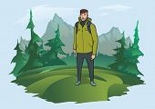 Happy Young Man With Backpack On The Background Of The Mountain Landscape. Mountain Tourism, Hiking, poster