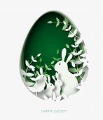 3d Abstract Paper Cut Illustration Of Colorful Paper Art Easter Rabbit Family, Grass, Flowers And Gr poster