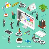 Web Development Flat Isometric Vector Concept. People Are Taking Off The Web Page That Looks Like Pa poster