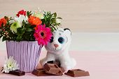 Romantic Composition With Flowers, Fluffy Toy And Some Pieces Of Chocolate. Holiday Card Background. poster