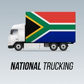 Symbol Of National Delivery Truck With Flag Of South Africa. National Trucking Icon And Flag Design poster