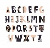 Funky Latin Font Or Decorative English Alphabet Hand Drawn On White Background. Creative Textured Le poster