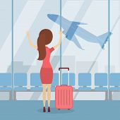 Woman Miss Plane At Hte Airport With Baggage In Terminal. poster