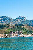 View On Taormina - Tourist  Resort  On Mountain And Giardini Naxos Beach, Sicily