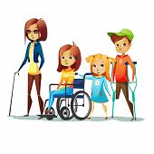 Handicapped Children With Disabilities Vector Illustration. Disabled Girl In Wheelchair And Blind Wo poster