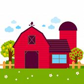 Landscape With Barn, Farmhouse, Fence And Orchard Trees. Vector Illustration poster