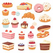 Cake Vector Chocolate Confectionery Cupcake And Sweet Confection Dessert With Caked Candies Illustra poster