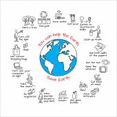 You Can Help The Earth. Save Planet. Ecology Infographics. Hand Drawn  Vector Illustration. Doodle E poster