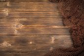 Wooden Background With Old Fishing Net. Background poster