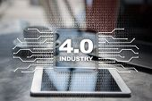 Industry 4.0 Iot Internet Of Things Smart Manufacturing Concept. Industrial 4.0 Process Infrastructu poster