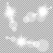 Sun Light Bokeh Lens Set Template On Transparent Background. Counterlight Lensflare Luminosity. Vect poster