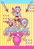 Japanese Anime Cosplay Party Invitation. Cute Kawaii Characters And Items. poster