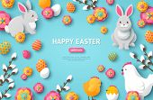 Happy Easter Blue Background With Easter Symbols. Vector Illustration. Spring Holiday Concept, Place poster
