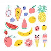 Vector Tropical Fruit Elements With Pineapple, Mango, Watermelon, Dragon Fruit, Pitaya, Banana, Papa poster