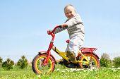 Постер, плакат: маленький мальчик на велосипеде