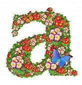 alfabeto de prímula com borboleta e joaninha