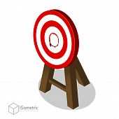 Breakthrough Target Goal, Business Concept Of Best Idea With A Big Hit Target Flat Vector Isometric  poster