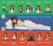 Rules Of Healthy Sleep. Vector Infographics Illustration. Cute Girl Sleeping On The Bed. Useful Tips poster