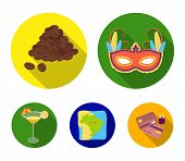 Brazil, Country, Mask, Carnival . Brazil Country Set Collection Icons In Flat Style Vector Symbol St poster