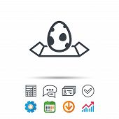 Dinosaur Egg Icon. Location Map Symbol. Pokemon Egg Concept. Statistics Chart, Chat Speech Bubble An poster