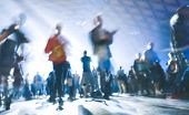Abstract Blurred People Moving On And Dancing At Music Night Festival Event - Defocused Image Of Dis poster