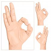 Hand gesture. Sign Okey. vector illustration.