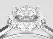 3d Illustration Close Up White Gold Or Silver Halo Bezel Pave Diamond Ring On A Gray Background poster
