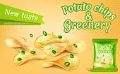 Vector Promotion Banner With Realistic Potato Chips And Greenery, High-calorie Meal, Foil Package Wi poster
