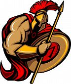 stock photo of spartan  - Cartoon Graphic of a Greek Spartan or Trojan Mascot holding a shield and spear - JPG