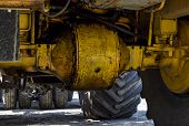 Wheel Axle Of The Tractor. Tractor, Standing In A Row. Agricultural Machinery. Parking Of Agricultur poster