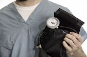 Nurse, Doctor, Or Surgeon Holding A Blood Pressure Cuff poster