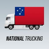 Symbol Of National Delivery Truck With Flag Of Samoa. National Trucking Icon And Samoan Flag poster