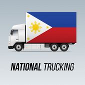 Symbol Of National Delivery Truck With Flag Of Philippines. National Trucking Icon And Filipino Flag poster
