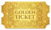 Gold Ticket, Golden Token (tear-off Ticket, Coupon) With Star Magical Background. Useful For Any Fes poster
