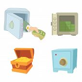 Safe Icon Set. Cartoon Set Of Safe Vector Icons For Web Design Isolated On White Background poster