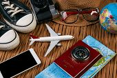 Passport Travel Document Photo Camera Sunglasses Globe Map, Top View. Summer Vacation, Travel, Touri poster