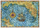 Pirate Treasures Map With Old Ship, Compass, Gulls And Islands. Pirate Adventures, Treasure Hunt And poster