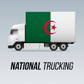 Symbol Of National Delivery Truck With Flag Of Algeria. National Trucking Icon And Algerian Flag poster