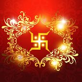 stock photo of swastik  - swastik symbol on beautiful artistic background - JPG