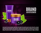 Cosmetic Cream Ads. Realistic Cosmetic Bottles With Black Currant. Black Currant Cosmetic Line Conce poster