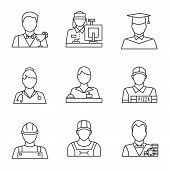Professions Linear Icons Set. Barman, Cashier, Graduate Student, Doctor, Receptionist, Pizza Deliver poster