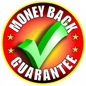 Money Back Guarantee Button/Label - red version