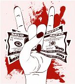 Heavy Metal Hand Gesture With Clutched Currency Usa. Rock-n-roll Sign With Crumpled Money On Texture poster