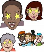 stock photo of groupies  - Different people with stars in their eyes - JPG