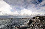 Ocean And Island With Bridge. View At Atlantic Road In Norway