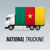 Symbol Of National Delivery Truck With Flag Of Cameroon. National Trucking Icon And Cameroonian Flag poster