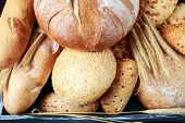 Fresh Bread On Table. Homemade Bread. Kitchen Or Bakery Poster Design. Bread Background poster