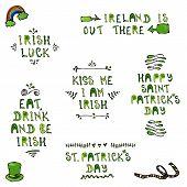 St. Patricks Day Lettering. Irish Luck, Kiss Me I Am Irish, Eat Dreank And Be Irish, Happy St Patri poster