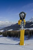 Yellow Snow Cannon Snow Maker Machine, Snow Gun For Production Of Snow On Ski Slopes poster