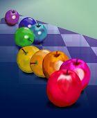 Rainbow Apples On Plaid